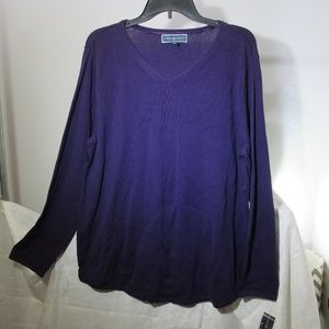 Karen Scott Women's XL Purple Long Sleeve Sweater